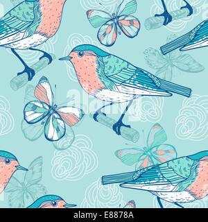 Motif transparent vecteur d'oiseaux et de papillons Banque D'Images