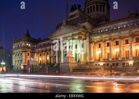 Palacio del Congreso de nuit, Buenos Aires, Argentine, Amérique du Sud Banque D'Images