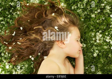 Girl sleeping in champ avec pétales de fleurs Banque D'Images