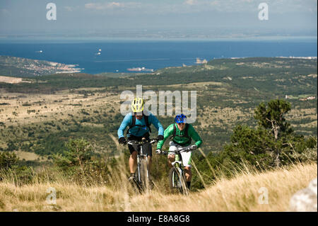 Deux vélos de montagne sur le chemin, Slatnik, Istrie, Slovénie Banque D'Images