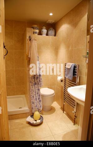 Douche ouverte salon divisé par le mur carrelé de toilettes ...