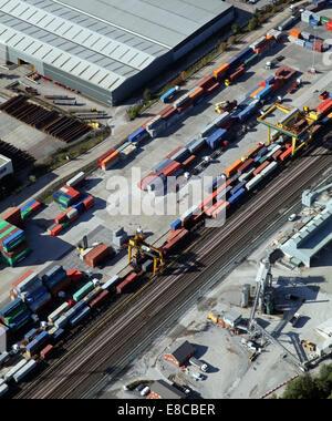 Vue aérienne d'un dépôt de conteneurs Banque D'Images