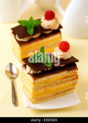 Gâteau éponge avec de la crème anglaise et tiramisu. Recette disponible. Banque D'Images