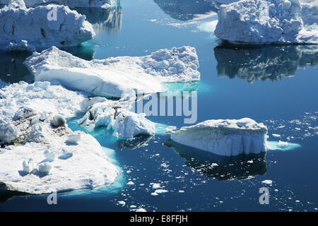 Gros plan des icebergs dans la baie de Disko, Ilulissat, Groenland