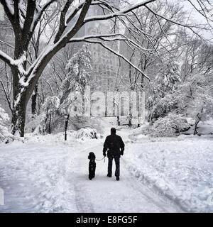 USA, New York, New York City, l'homme et son chien marcher dans Central Park en hiver Banque D'Images