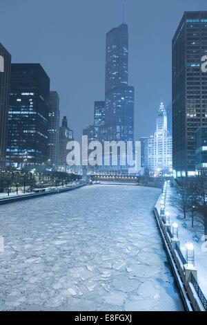 Ville de Chicago en hiver, Illinois, États-Unis
