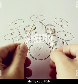 Studio shot of drum kit conceptuel Banque D'Images