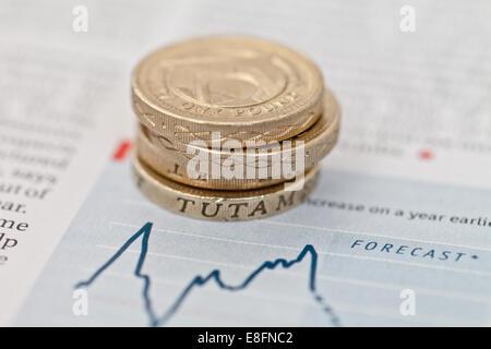 Pile de pièces livre sur les prévisions financières