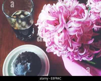Muffin au chocolat avec de la glace et café fleurs jacinthe Banque D'Images