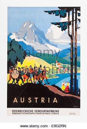 Vintage Voyage affiche publicitaire de l'Autriche. Date de création 1920 à 1950. Seulement éditoriale Banque D'Images