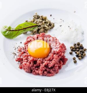 Tartare de boeuf aux câpres et l'oignon on white plate Banque D'Images