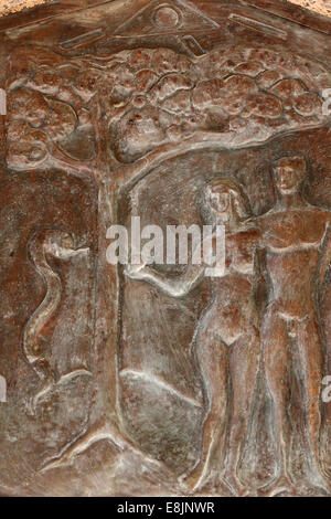 Basilique de l'Annonciation. Adam et Eve. Le fruit interdit. Banque D'Images
