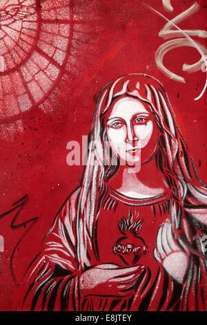 Vierge Marie. Street art. Banque D'Images