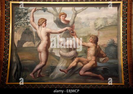 Musée de l'ermitage. La loggia de Raphaël. Adam et Eve Banque D'Images