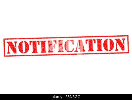 Timbres en caoutchouc rouge de notification sur un fond blanc. Banque D'Images