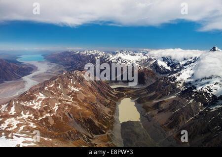 Alpes du Sud, Nouvelle-Zélande, vue aérienne Banque D'Images