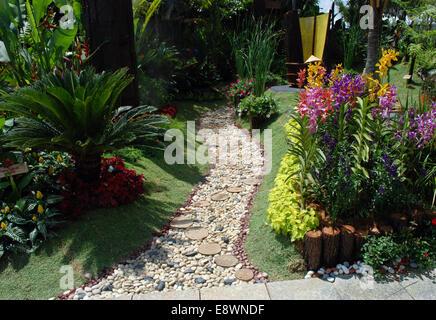 Jardin paysager avec des cailloux et blocs en bois chemin de ...