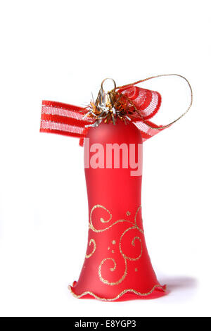 Red Christmas Bell. Isolated on white Banque D'Images