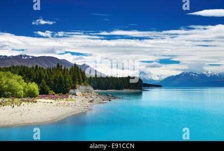 Le lac Pukaki et Alpes du Sud, Nouvelle-Zélande Banque D'Images