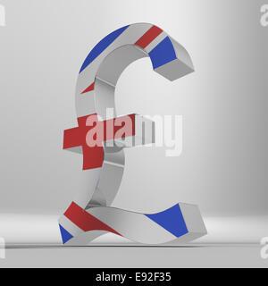 Un modèle 3D d'un signe dièse avec le drapeau de l'Union sur le visage. Banque D'Images