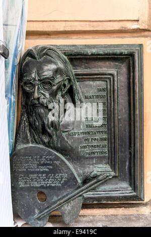 Sculpture de Jan Matejko, peintre polonais du xixe siècle, Cracovie, Pologne, Banque D'Images