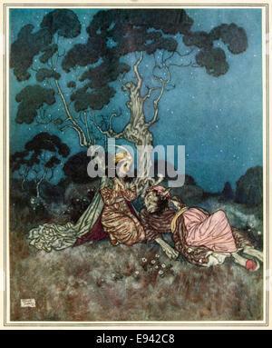 """Beauté et la Bête, Edmund Dulac illustration de 'sleeping Beauty et autres contes de fées"""". Voir la description Banque D'Images"""