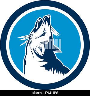 Illustration d'un chien sauvage en colère fox tête de loup hurlant vu du côté situé à l'intérieur du cercle sur Banque D'Images
