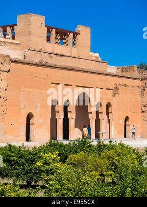 Des ruines historiques du Palais El Badi, Marrakech, Marrakech-Tensift-Al Haouz, Maroc Banque D'Images