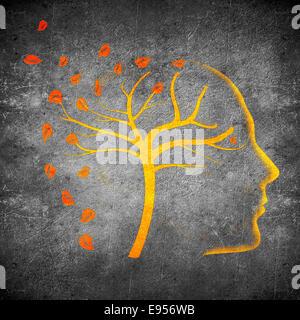 Times go par concept illustration numérique noir sur orange Banque D'Images