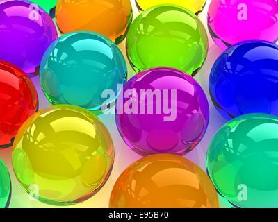 Des sphères colorées en verre 3D numérique,image générée. Banque D'Images