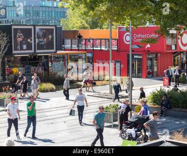 Conteneur de Christchurch Mall, Re:Start pop-up Mall ou Cashel Street Mall construit à partir de contenants d'expédition Banque D'Images