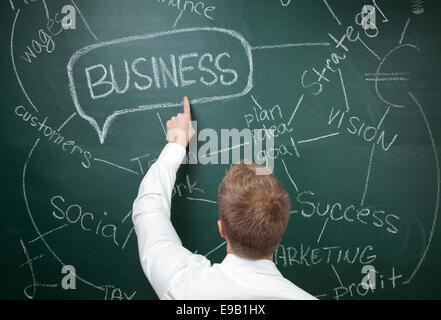 Youn man de mettre par écrit des idées d'entreprise on blackboard Banque D'Images