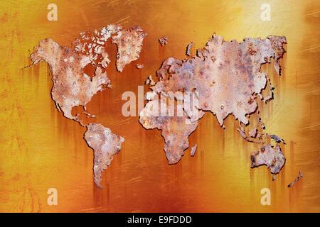 Carte du monde avec rusty metall Banque D'Images