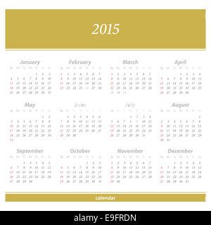 2015 Nouvelle année calendrier européen. vecteur modèle organisateur quotidienne
