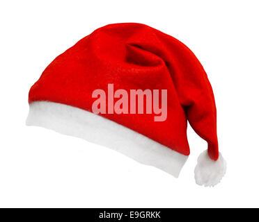 Santa hat Noël isolé sur un fond blanc et incliné sur un angle un grand élément de lisser les bords pour easy select