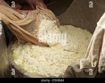 Dairyman faire fromage gris, levage et en appuyant sur la pâte avec un chiffon, fromage, Steinbergalm Inneralpbach, Banque D'Images