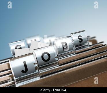 Onglets du dossier avec des lettres composant le mot emploi, notion de droit pour l'illustration de la recherche Banque D'Images