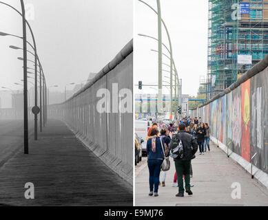 Le tableau montre une section du mur de Berlin le Muehlenstrasse le 25 janvier 1990 (en haut) et au même endroit, Banque D'Images