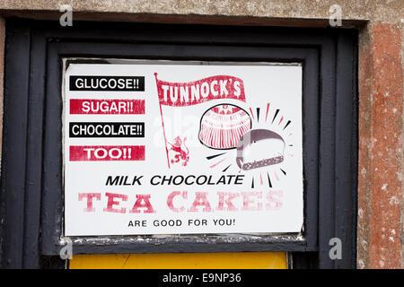 Ancienne publicité pour les gâteaux à thé Tunnocks Crinan, Knapdale, ARGYLL & BUTE, Ecosse UK Banque D'Images