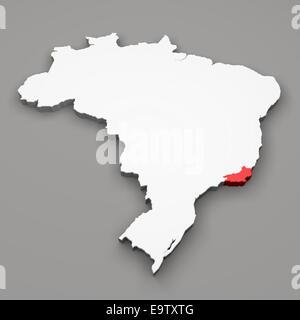 L'état de Rio de Janeiro sur la carte du Brésil sur fond gris Banque D'Images