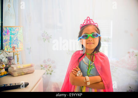 Portrait of young girl wearing fancy dress costume Banque D'Images