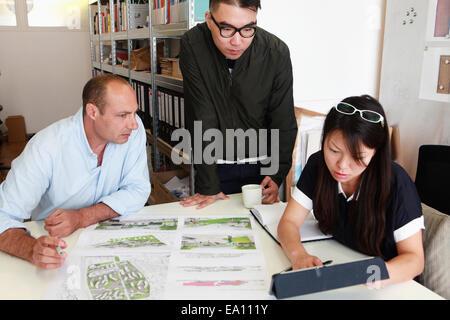 Équipe de trois architectes de l'inspection des idées de plan in office Banque D'Images