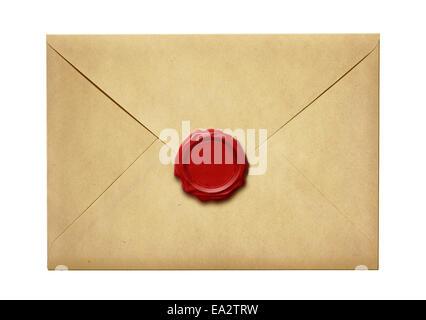 Ancienne enveloppe avec cachet de cire isolated Banque D'Images