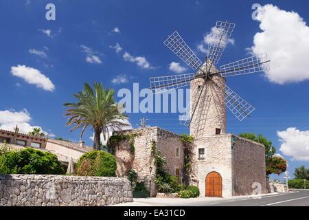 Restaurant dans un moulin, Sineu, Mallorca, Iles Baléares, Espagne, Méditerranée, Europe Banque D'Images