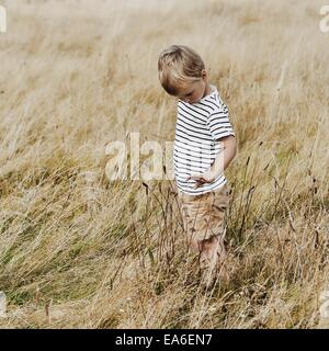 Boy standing in meadow Banque D'Images