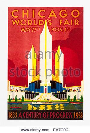 Vintage Voyage affiche publicitaire internationale de Chicago 27 mai au 1er novembre. Seulement éditoriale Banque D'Images