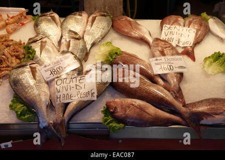 Le poisson en vente au marché aux poissons du Rialto à Venise, Italie. Banque D'Images