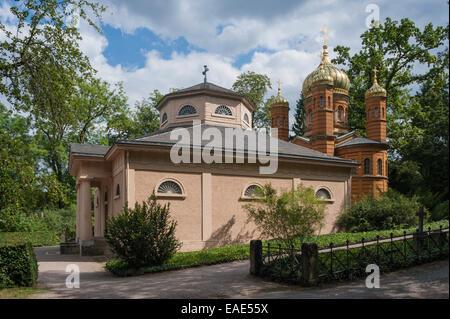 Fuerstengruft ducal, chapelle funéraire, Chapelle Orthodoxe Russe à l'arrière, le cimetière historique, Weimar, Banque D'Images