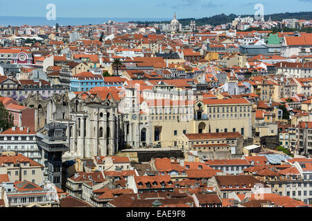 Vue du château de São Jorge Castle sur le centre-ville historique de Lisbonne, centre historique, quartier de Lisbonne, Banque D'Images