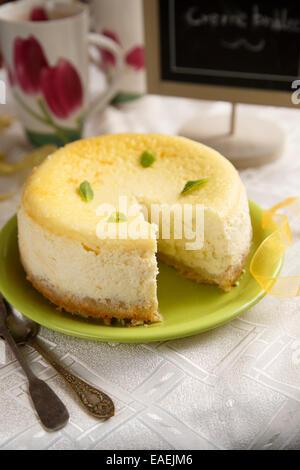 Cheesecake au citron et gingembre Banque D'Images